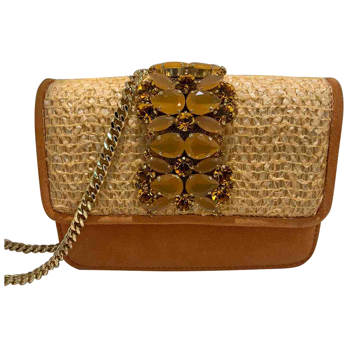 Emanuela Caruso Capri \N Clutch in  Orange Veloursleder