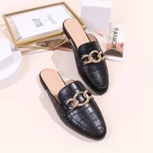 Chain Decor Croc Embossed Loafer Mules