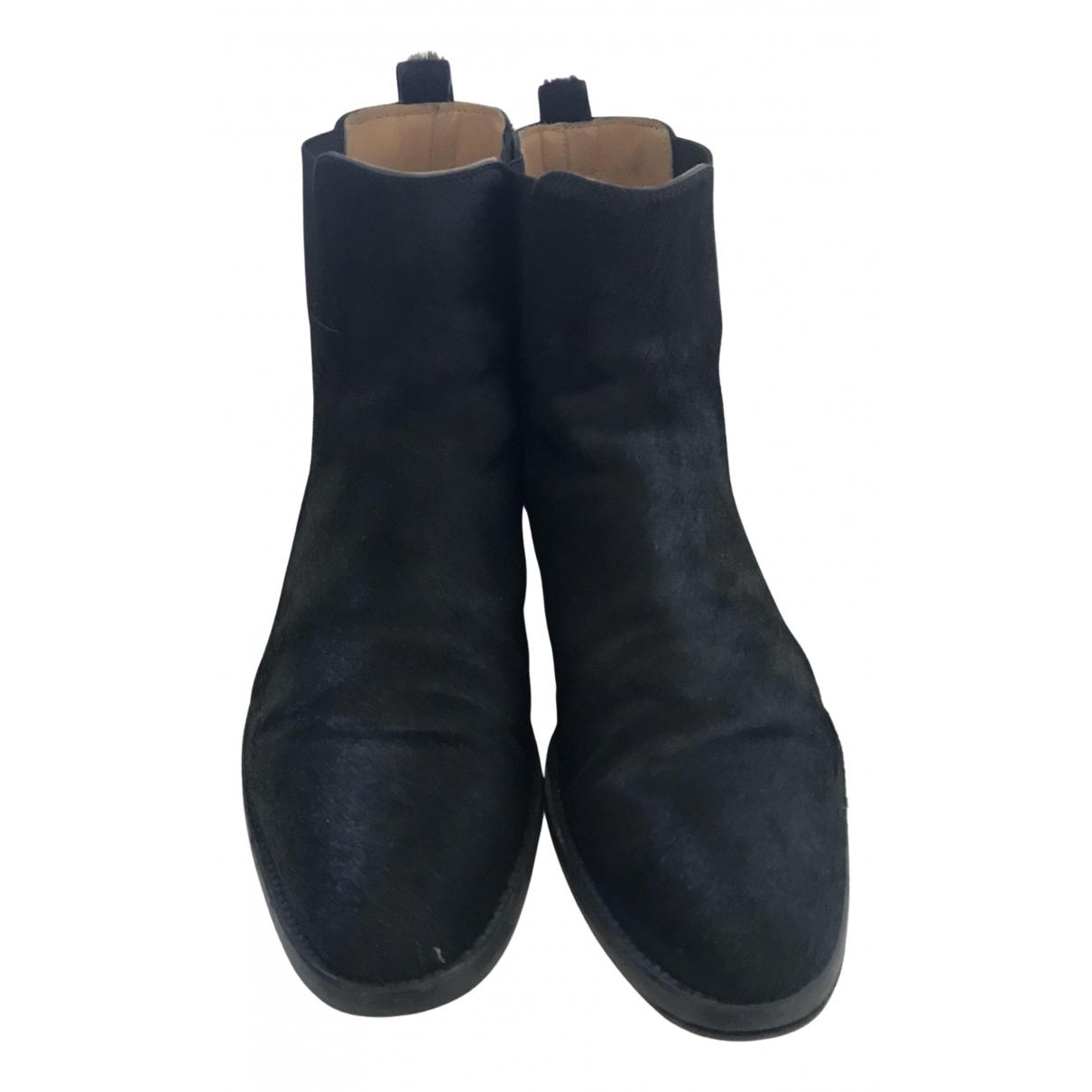 Hermes - Boots   pour femme en veau facon poulain - noir