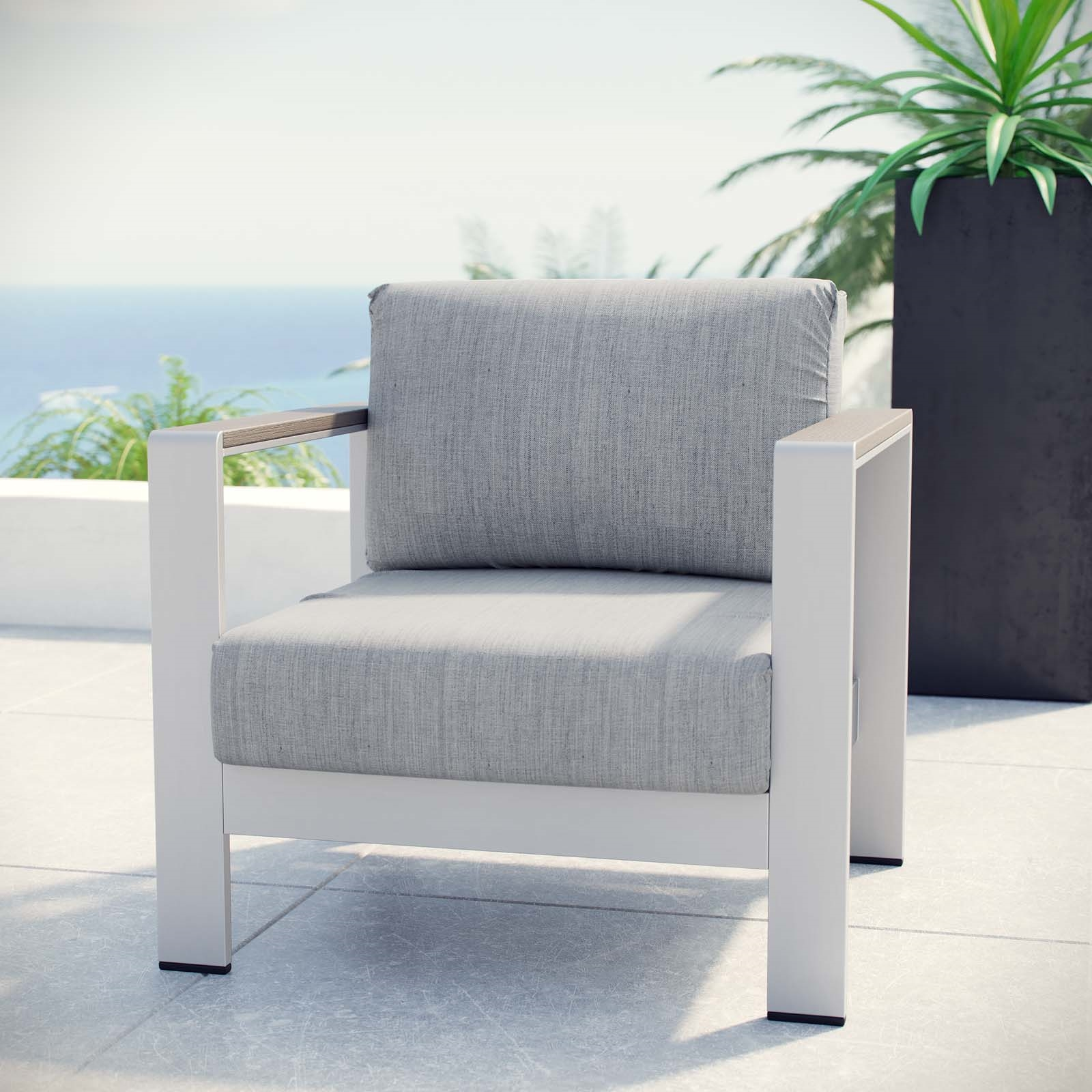 Shore Outdoor Patio Aluminum Armchair in Silver Gray