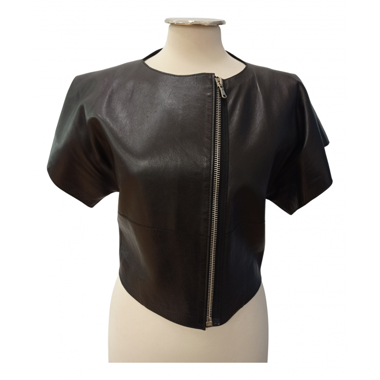 Balenciaga \N Lederjacke in  Schwarz Leder