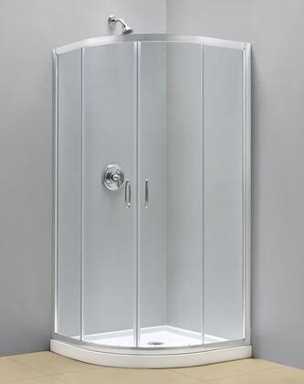 DL-6153-01FR Prime 36 In. X 36 In. Frosted Glass Sliding Shower Enclosure In Chrome With White Acrylic Base And Backwall