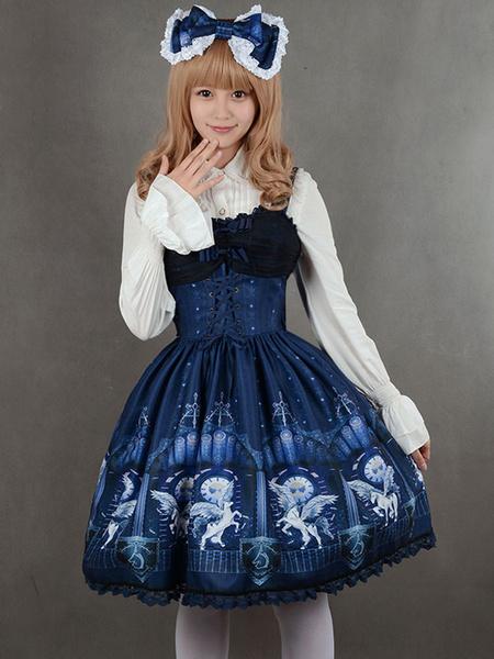 Milanoo Vestido de impresion arco Lolita sintetico azul profundo