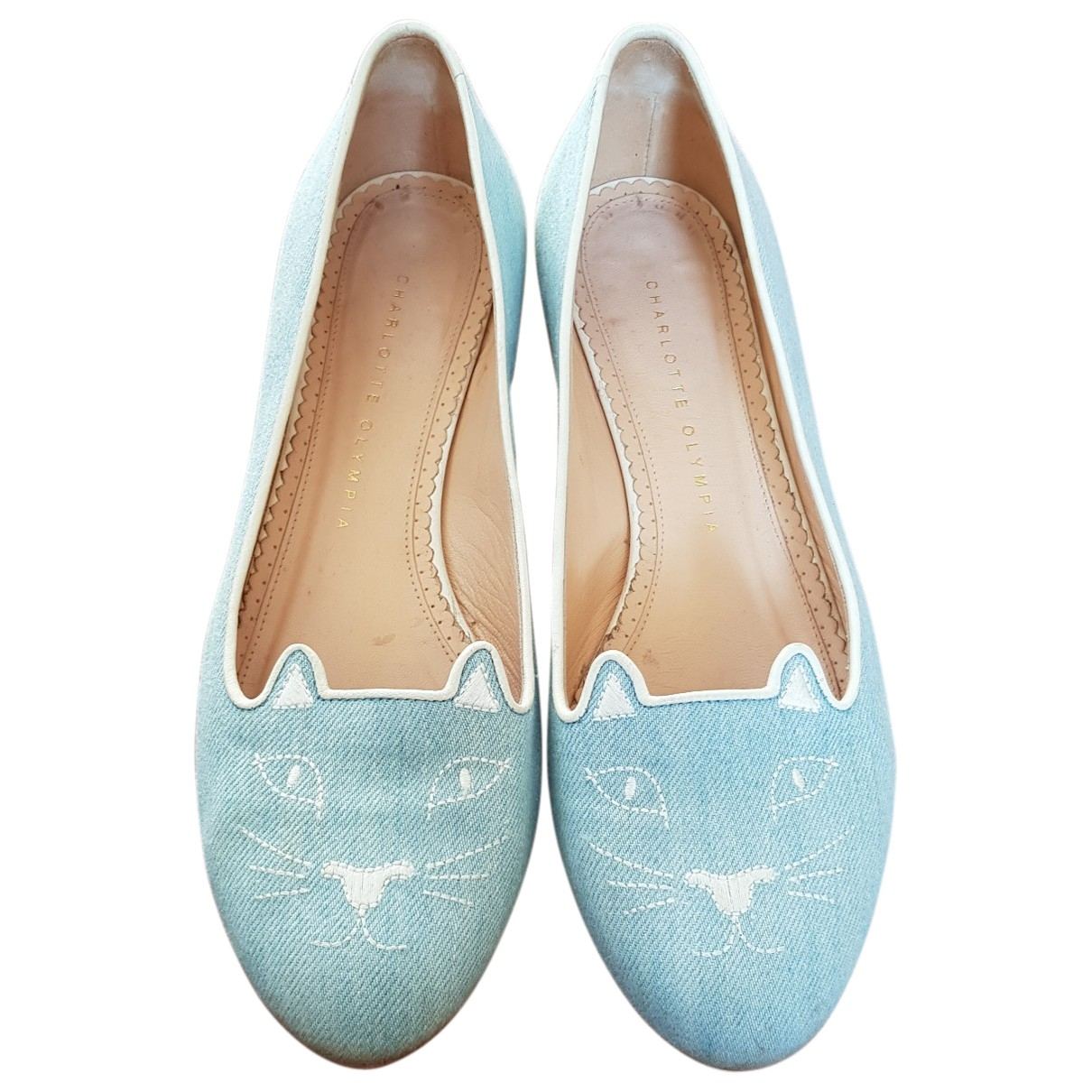 Charlotte Olympia \N Blue Cloth Flats for Women 38 EU
