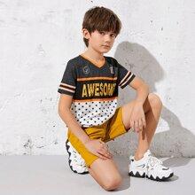 Jungen T-Shirt mit Muster, Farbblock und Shorts Set