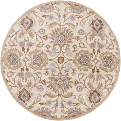 Caesar CAE-1109 8' Round Traditional Rug in Cream  Camel  Taupe  Denim  Medium Grey