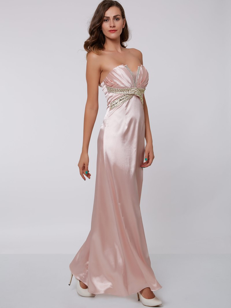Ericdress Sheath Scalloped-Edge Beading Pleats Floor-Length Evening Dress