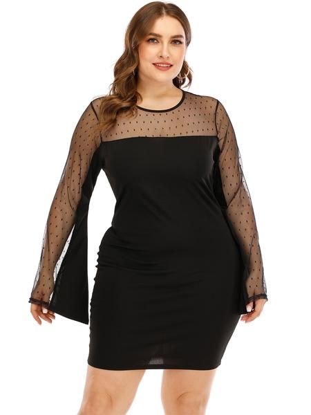 Yoins Plus Size Black Polka Dot Long Sleeves Dress
