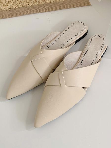 Milanoo Zapatos planos con punta en punta de cuero de albaricoque para mujer