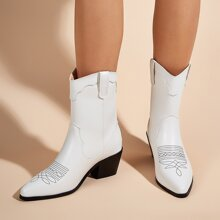 Embroidered Zip Back Chunky Boots