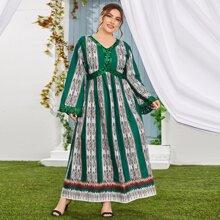 Vestidos Tallas Grandes Contraste Lentejuelas Tribal Elegante
