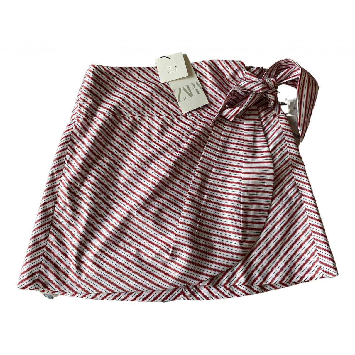 Zara - Jupe   pour femme en coton - blanc