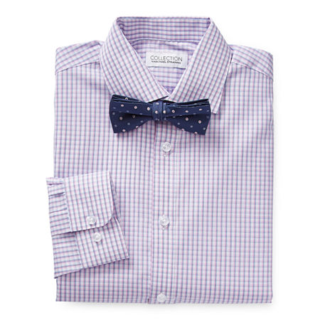 Collection by Michael Strahan Little & Big Boys Spread Collar Long Sleeve Shirt + Tie Set, 14 , Pink