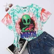 Top de tie dye con estampado de letra y extraterrestre