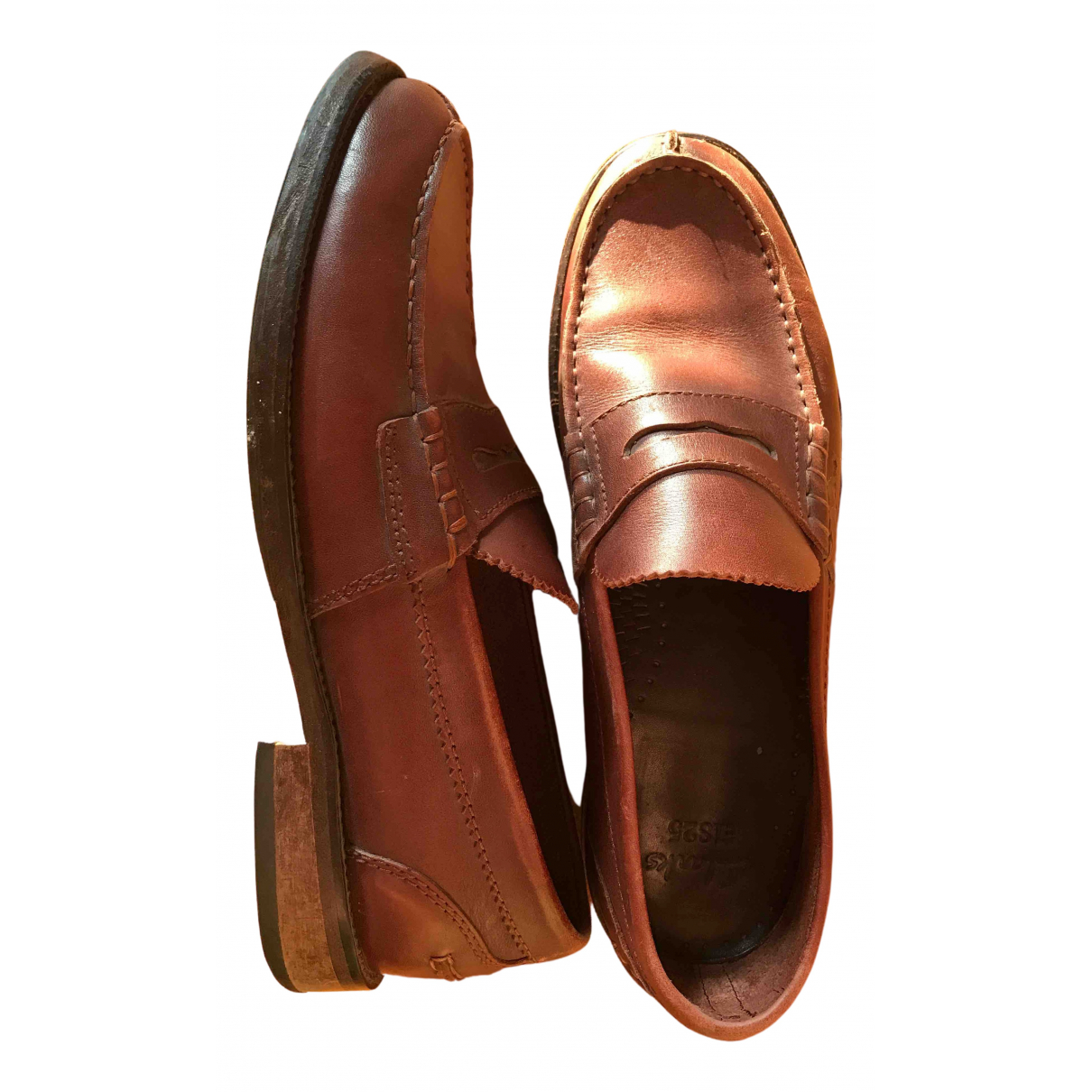 Clarks N Brown Leather Flats for Men 9 US