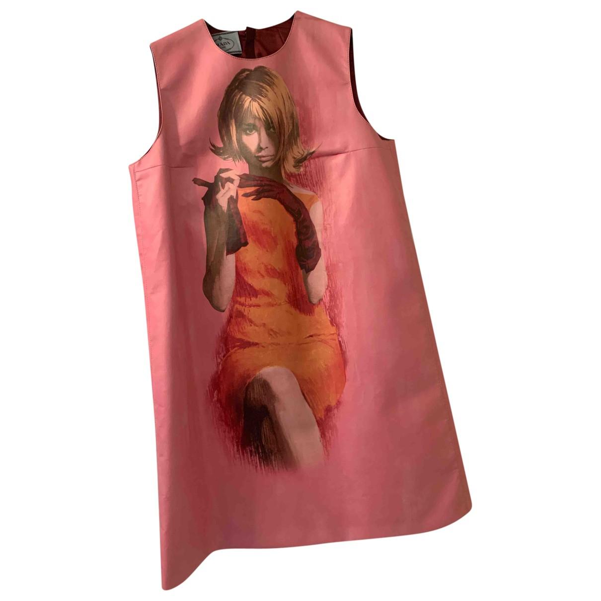 Prada \N Kleid in  Rosa Leder