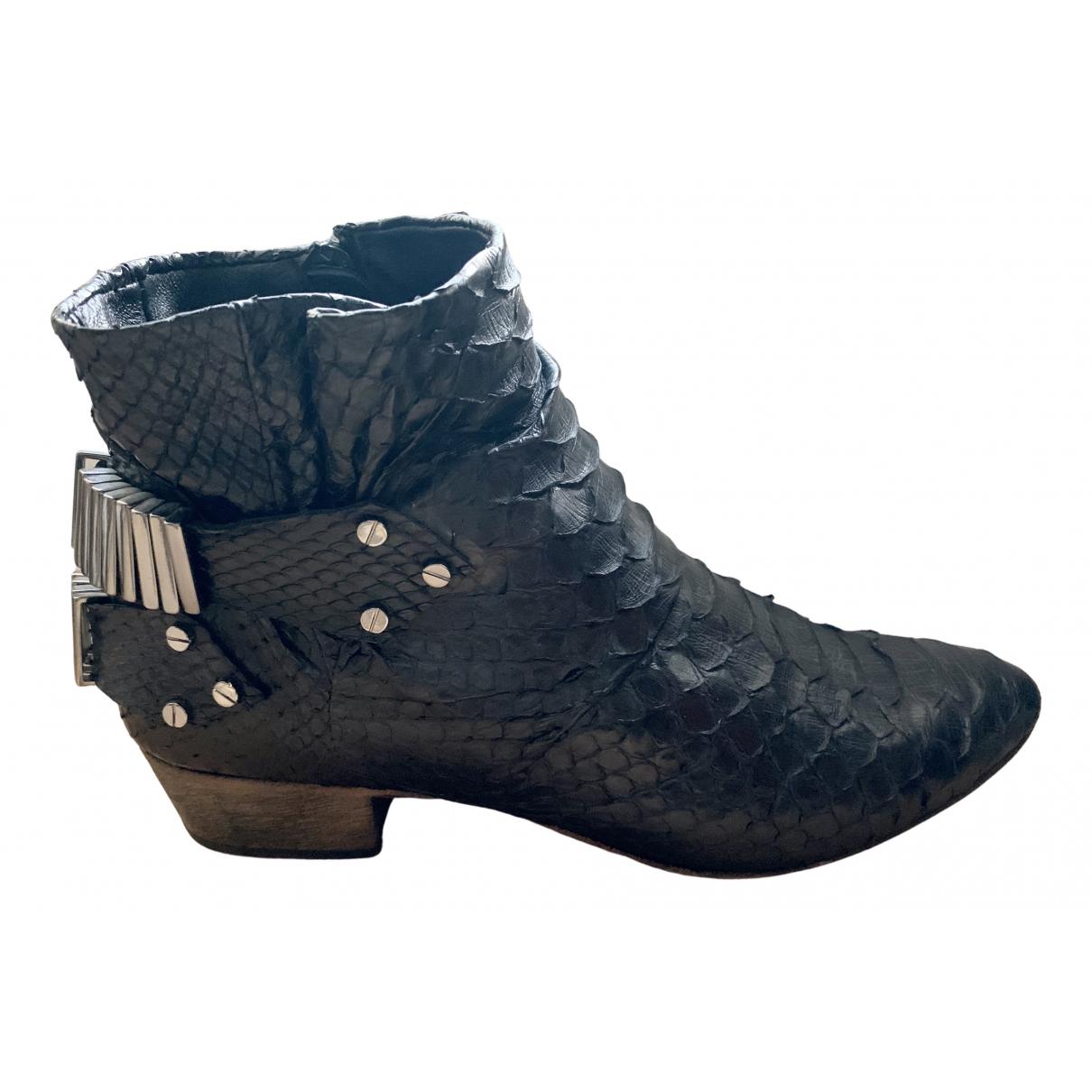 Fury London - Boots   pour femme en python - noir