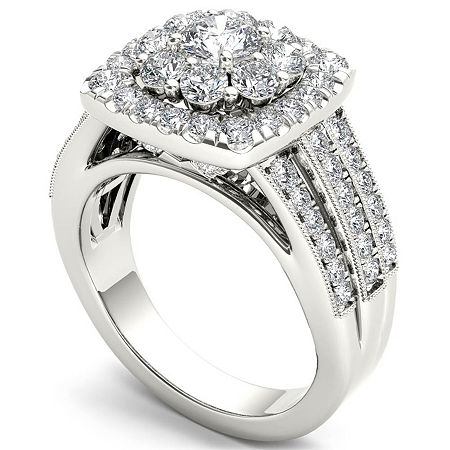 Womens 2 CT. T.W. Genuine White Diamond 14K Gold Engagement Ring, 7 , Multiple Colors
