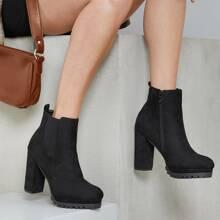Faux Suede High Heel Platform Lugsole Boots