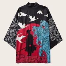 Guys Scroll & Figure Graphic Kimono