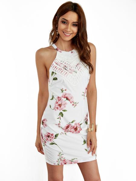 Yoins White Halter Random Floral Print Mini Dress