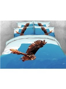 Flying Owl and Blue Sky Printed 4-Piece 3D Bedding Sets/Duvet Covers