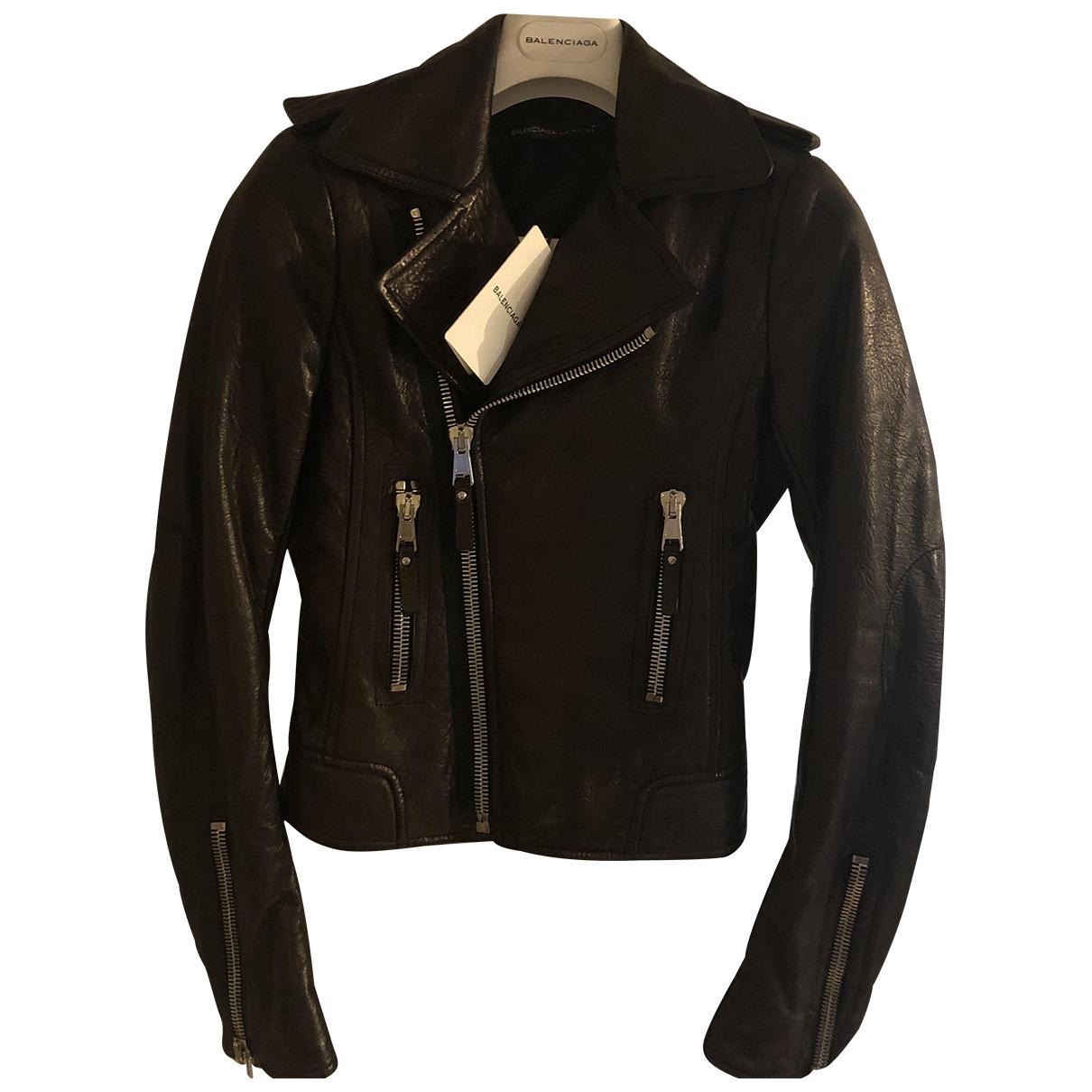 Balenciaga - Veste   pour femme en cuir - marron