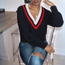 Striped V Neck Drop Shoulder Sweater