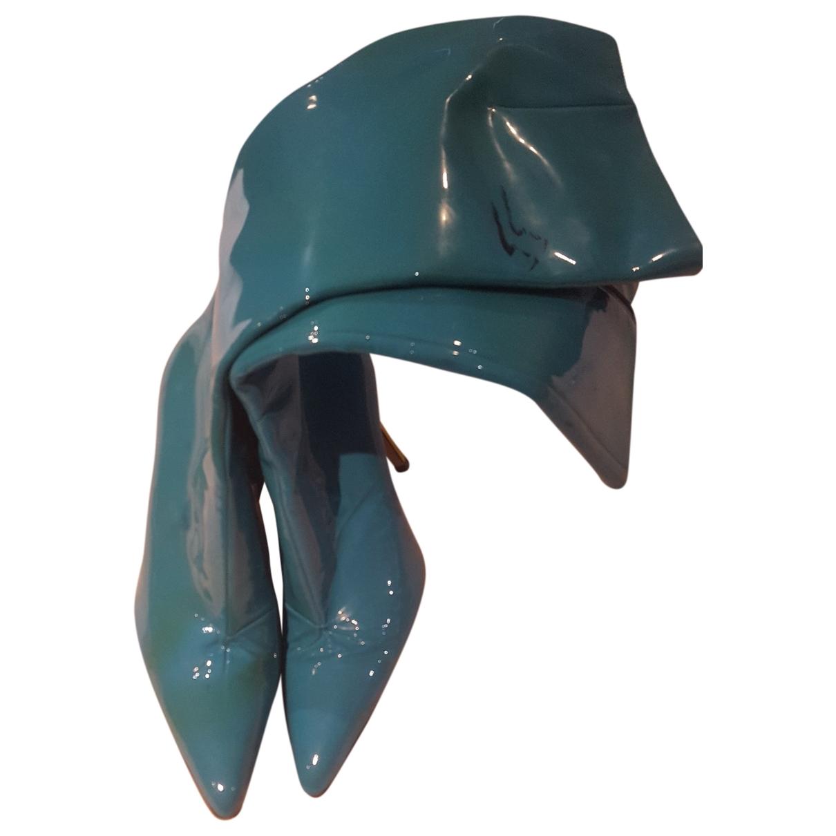 Gina - Bottes   pour femme en cuir verni - turquoise