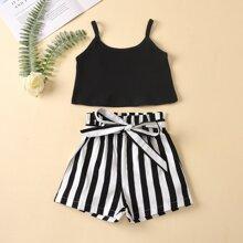 Toddler Girls Rib-knit Cami Top & Belted Shorts