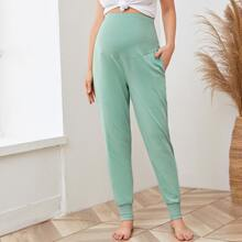 Maternity Slant Pocket Solid Sweatpants