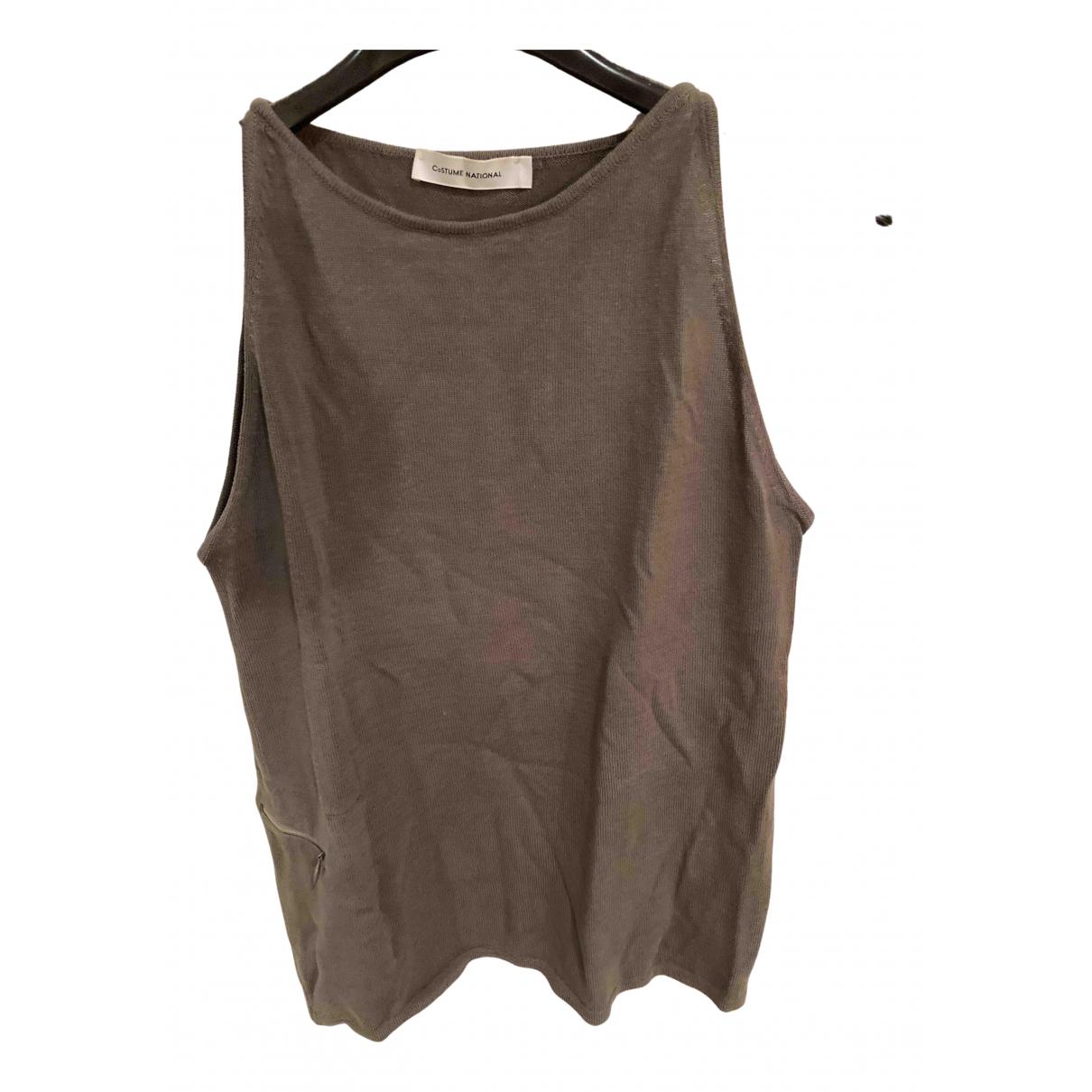 Costume National - Top   pour femme en coton - kaki