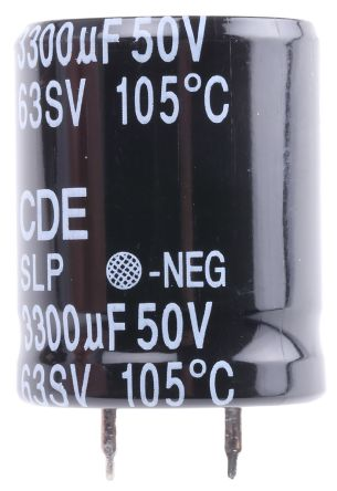 Cornell-Dubilier 3300μF Electrolytic Capacitor 50V dc, Through Hole - SLP332M050C3P3