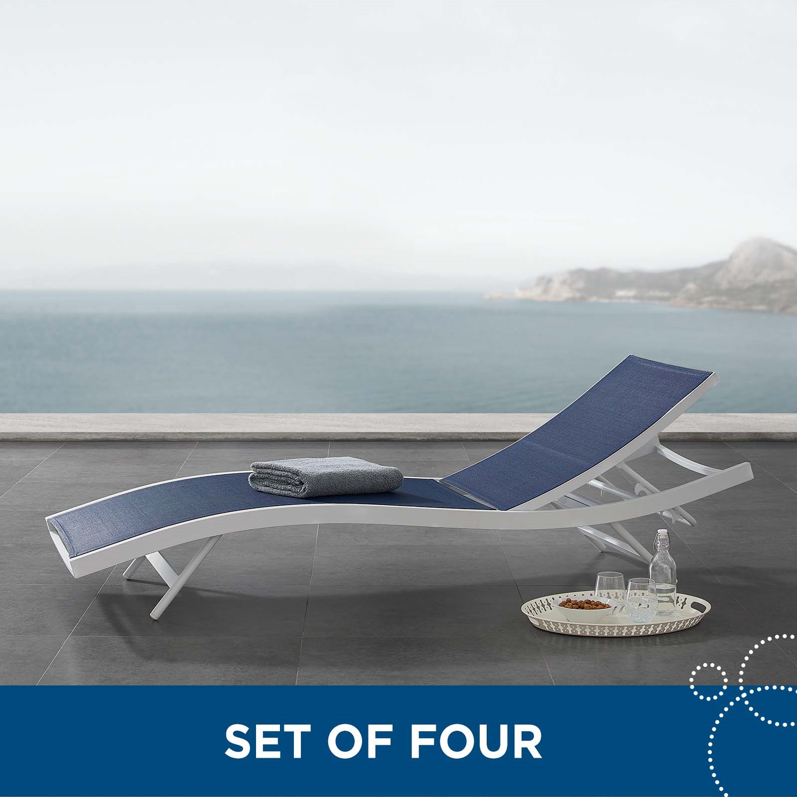 Glimpse Outdoor Patio Mesh Chaise Lounge Set of 4 in White Navy