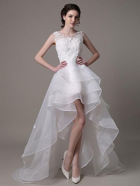 Milanoo Vestido de novia con escote transparente y cuentas de cola asimetrica