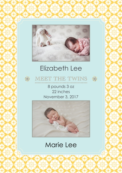 Newborn Flat Matte Photo Paper Cards with Envelopes, 5x7, Card & Stationery -Meet the Twins