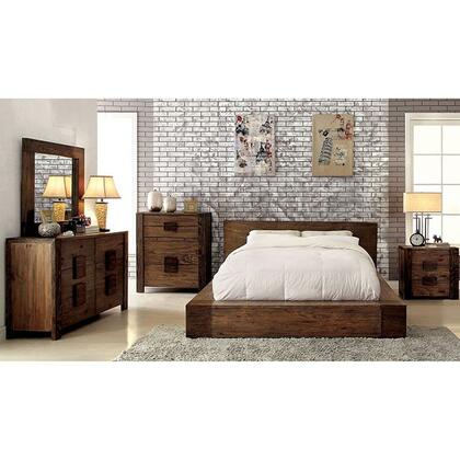 Janeiro Collection CM7628QBDMCN 5-Piece Bedroom Set with Queen Bed  Dresser  Mirror  Chest and Nightstand in Rustic Natural Tone