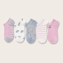 5 Paare Socken mit Hase Muster