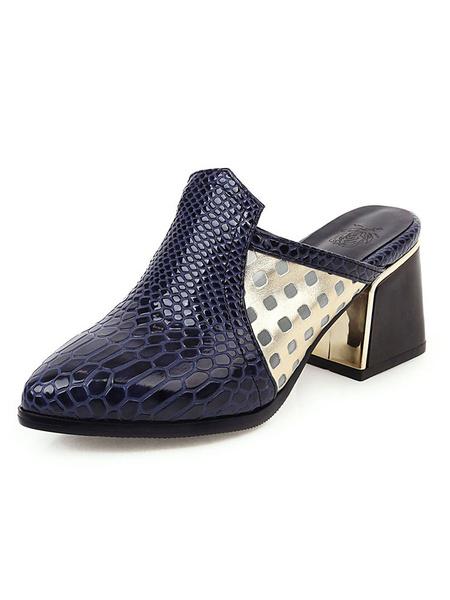 Milanoo Zapatos de tacon alto con tacon en punta en azul marino para mujer