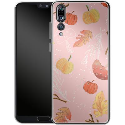 Huawei P20 Pro Silikon Handyhuelle - Foliage Pink Woodland von Mukta Lata Barua
