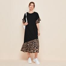 Kleid mit Kontrast, Leopard Muster und Ruesche