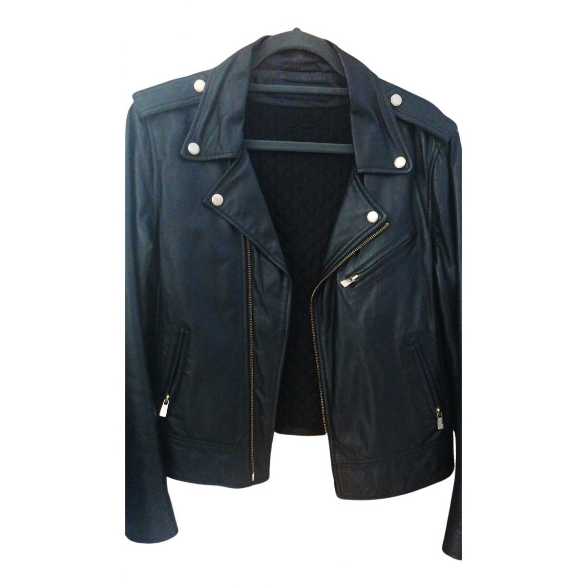 Trussardi Jeans \N Lederjacke in  Schwarz Leder