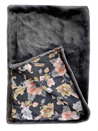 Two Tone Gray/Amber Collection PBSF1432-9090-TC 90L x 90W Full Handmade Luxury Throw with Floral