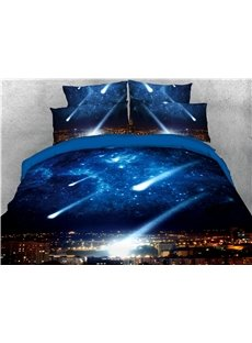 Falling Star 3D Blue Galaxy Zipper Bedding Sets 4Pcs Colorfast/Durable/Skin-friendly Duvet Cover with Ties