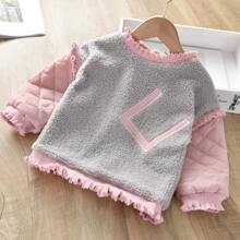 Toddler Girls Colorblock Frill Trim Teddy Sweatshirt