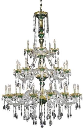 7810G45GN/RC 7810 Alexandria Collection Large Hanging Fixture D45in H62in Lt: 15+10+5 Gold & Green Finish (Royal Cut