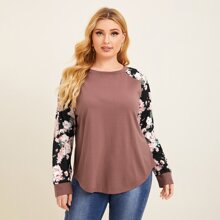 Plus Floral Raglan Sleeve Curved Hem Top