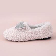 Bow Decor Slip On Fluffy Slippers