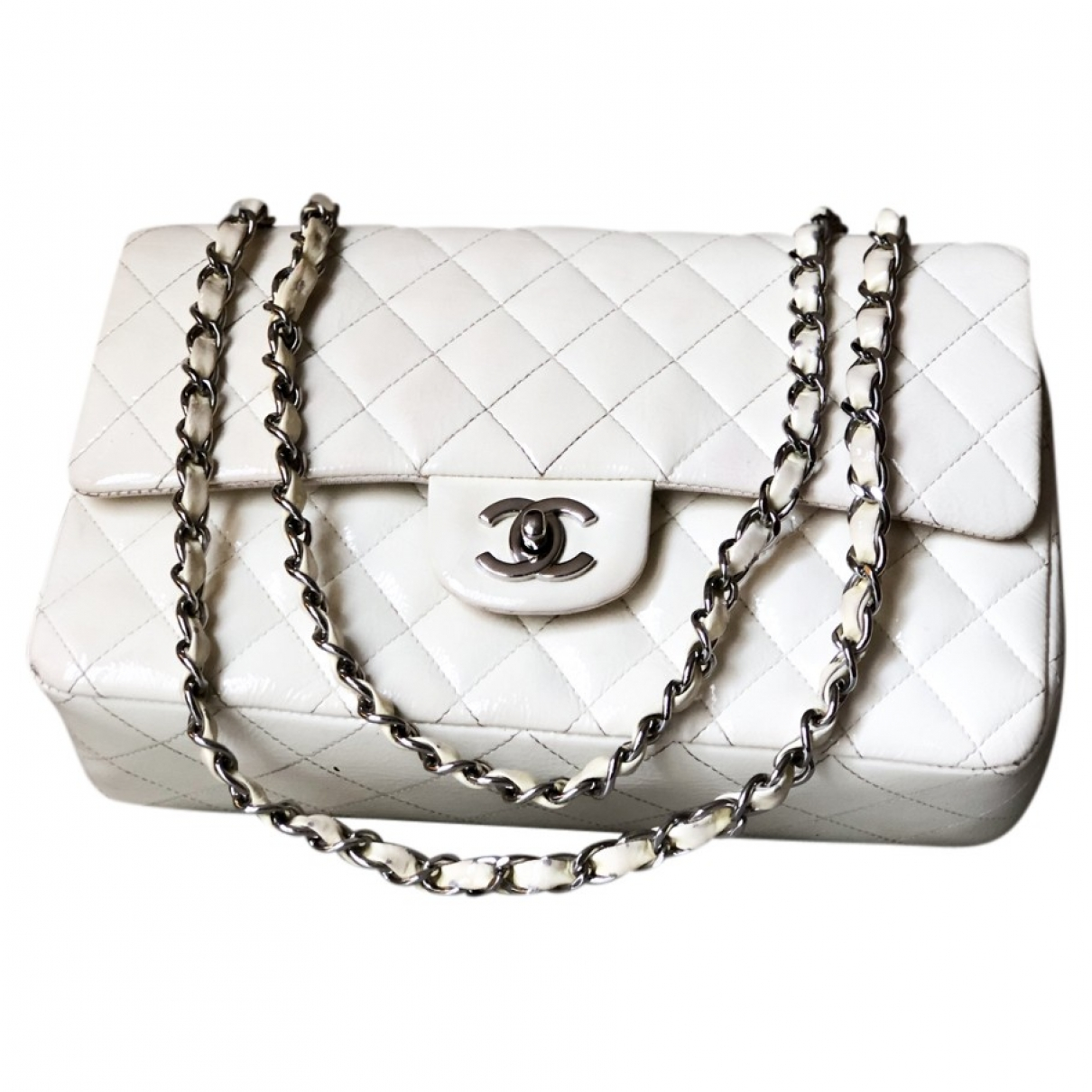 Chanel Timeless/Classique White Patent leather handbag for Women \N