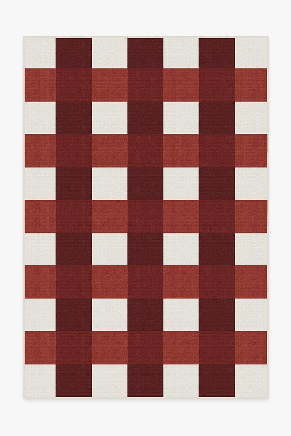 Washable Rug Cover | Outdoor Gingham Plaid Red & White Rug | Stain-Resistant | Ruggable | 6x9